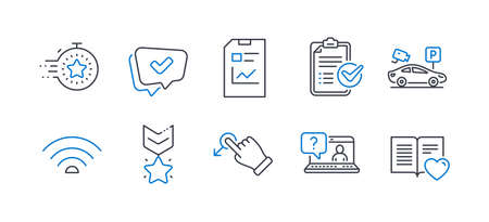 Set of Technology icons, such as Report document, Winner medal, Faq, Timer, Wifi, Parking security, Approved, Survey checklist, Drag drop, Love book line icons. Statistics file, Ranking star. Vector