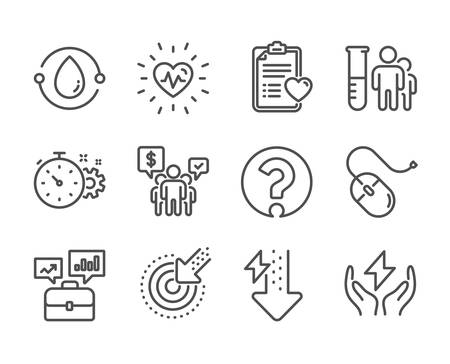 Set of Science icons, such as Computer mouse, Energy drops, Question mark, Medical analyzes, Heartbeat, Teamwork, Cold-pressed oil, Targeting, Safe energy, Patient history, Cogwheel timer. Vector