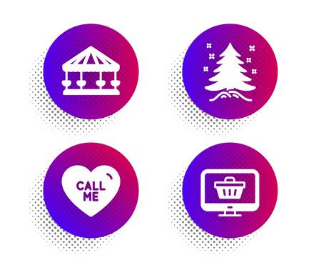 Call me, Carousels and Christmas tree icons simple set. Halftone dots button. Web shop sign. Love sweetheart, Attraction park, Spruce. Shopping cart. Holidays set. Classic flat call me icon. Vector