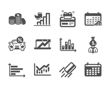 Set of Finance icons, such as Manager, Calendar, Credit card, Calendar graph, Financial diagram, Horizontal chart, Diagram graph, Banking money, Car leasing, Loyalty card, Growth chart. Vector