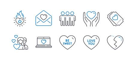 Set of Love icons, such as Love ticket, Be sweet, Love letter, Heart flame, Friendship, Couple, Hold heart line icons. Social network, Trust friends. Line love ticket icon. Vector