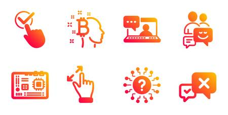 Friends chat, Touchscreen gesture and Motherboard line icons set. Bitcoin think, Question mark and Checkbox signs. Communication, Reject symbols. Message, Zoom in. Technology set. Vector