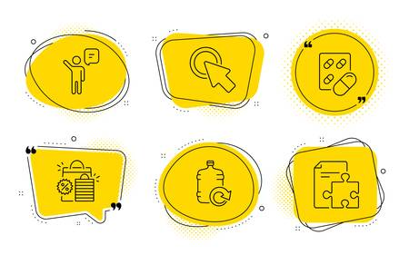 Click here, Refill water and Strategy signs. Chat bubbles. Agent, Capsule pill and Shopping bags line icons set. Business person, Medicine drugs, Sale discount. Push button. Business set. Vector
