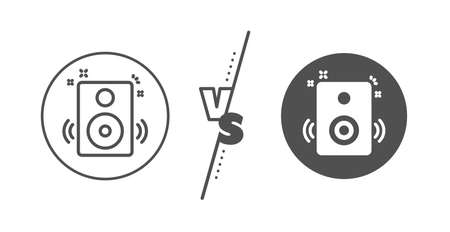 Music sound sign. Versus concept. Speakers line icon. Musical device symbol. Line vs classic speakers icon. Vector