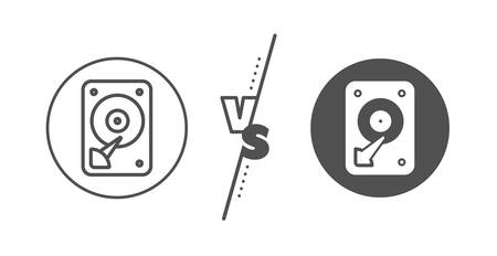 Hard disk storage sign. Versus concept. HDD icon. Hard drive memory symbol. Line vs classic hDD icon. Vector  イラスト・ベクター素材