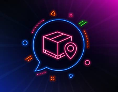 Parcel tracking line icon. Neon laser lights. Delivery monitoring sign. Shipping box location symbol. Glow laser speech bubble. Neon lights chat bubble. Banner badge with parcel tracking icon. Vector