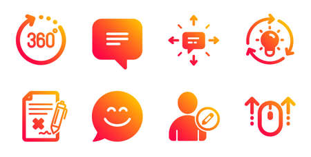 Edit user, Idea and Smile chat line icons set. 360 degrees, Text message and Reject file signs. Sms, Swipe up symbols. Profile data, Lightbulb. Technology set. Gradient edit user icons set. Vector Foto de archivo - 129433482