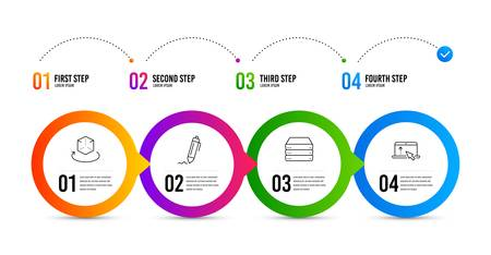 Signature, Augmented reality and Servers line icons set. Timeline infographic. Swipe up sign. Written pen, Virtual reality, Big data. Scroll screen. Business set. Signature icon. Vector Ilustração