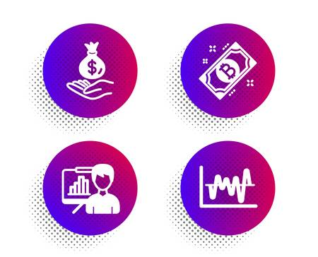 Bitcoin, Income money and Presentation board icons simple set. Halftone dots button. Stock analysis sign. Cryptocurrency coin, Savings, Growth chart. Business trade. Finance set. Vector Illustration