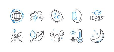 Set of Nature icons, such as Bacteria, No alcohol, Grow plant, Weather thermometer, Leaf, Eco energy, Leaf dew, Rainy weather, Moon stars line icons. Antibacterial, Mineral oil. Vector
