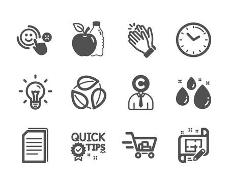 Set of Business icons, such as Quick tips, Apple, Leaves, Clapping hands, Water drop, Copy files, Copyrighter, Idea, Shopping cart, Time, Architect plan, Customer satisfaction. Quick tips icon. Vector