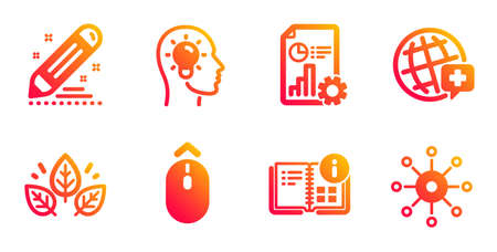World medicine, Idea head and Instruction info line icons set. Organic tested, Report and Brand contract signs. Swipe up, Multichannel symbols. Online medicine, Lightbulb. Science set. Vector