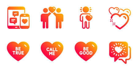 Friends couple, Be true and Call me line icons set. Friend, Heart and Social media signs. Be good, Friends chat symbols. Friendship, Love sweetheart. Love set. Vector