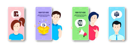 Mobile like, Coffee machine and Privacy policy icons simple set. People on phone screen. Credit card sign. Phone thumbs up, Cappuccino machine, Checklist. Bank payment. Technology set. Vector