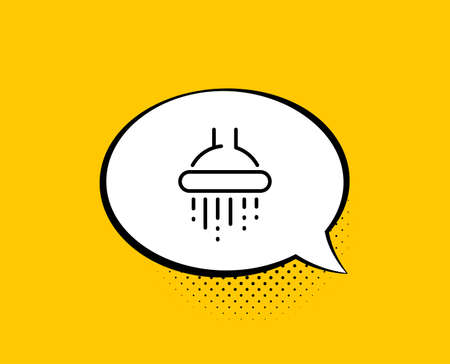 Shower line icon. Comic speech bubble. Bathroom sign. Hotel service symbol. Yellow background with chat bubble. Shower icon. Colorful banner. Vector 向量圖像