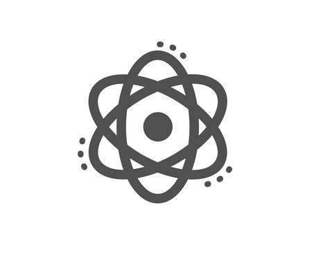 Signe d'énergie. Icône de l'atome. Symbole de l'élément chimique. Style plat classique. Icône de l'atome simple. Vecteur Vecteurs
