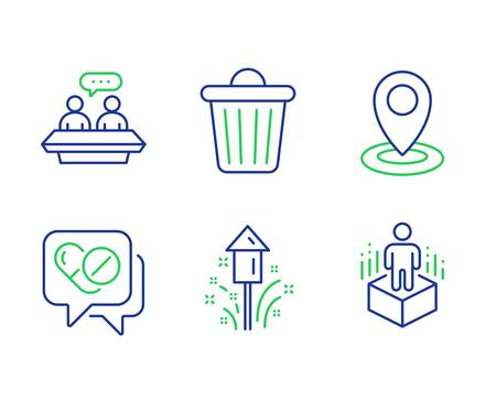 Location, Fireworks and Medical drugs line icons set. Employees talk, Trash bin and Augmented reality signs. Map pointer, Christmas pyrotechnic, Medicine pills. Collaboration. Science set. Vector Иллюстрация