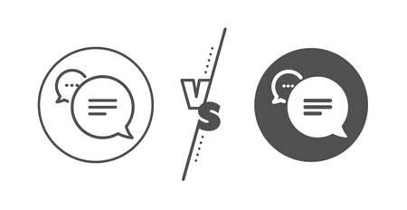 Chat comment sign. Versus concept. Text message line icon. Speech bubble symbol. Line vs classic text message icon. Vector