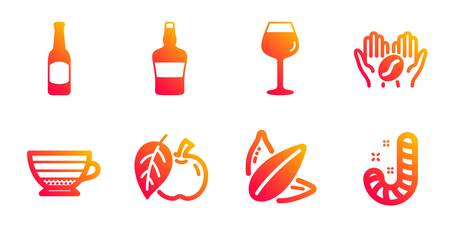Sunflower seed, Bordeaux glass and Cappuccino line icons set. Beer, Apple and Coffee signs. Scotch bottle, Candy symbols. Vegetarian food, Wine glass. Food and drink set. Vector  イラスト・ベクター素材