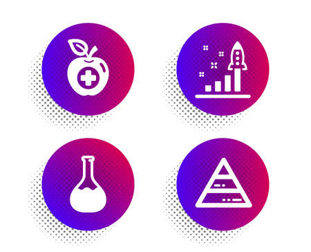 Chemistry lab, Development plan and Medical food icons simple set. Halftone dots button. Pyramid chart sign. Laboratory, Strategy, Apple. Report analysis. Business set. Vector Stock Illustratie