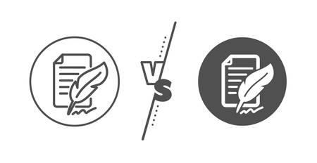 Copywriting sign. Versus concept. Feather signature line icon. Feedback symbol. Line vs classic feather signature icon. Vector