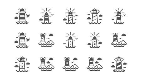 Lighthouse icons. Searchlight tower with seagull for marine navigation of ships. Sea pharos, lighthouse or beacon icons. Classic set.  Quality set. Vector