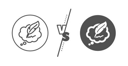 Feather sign. Versus concept. Copywriting speech bubble line icon. Copyright symbol. Line vs classic copyright chat icon. Vector  イラスト・ベクター素材