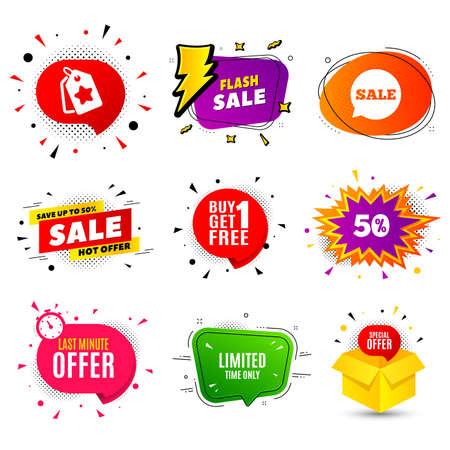 Limited time symbol. Banner badge, flash sale bubble. Special offer sign. Sale. Last minute offer. Sticker badge, comic bubble. Discounts box. Vector