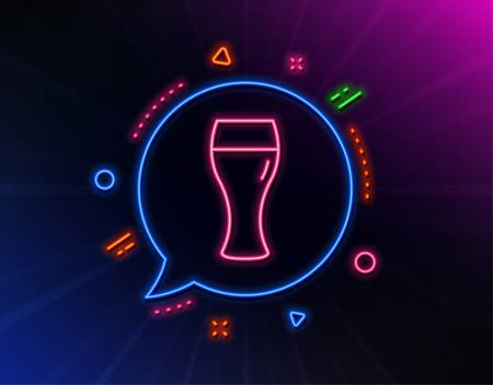 Beer glass line icon. Neon laser lights. Pub Craft beer sign. Brewery beverage symbol. Glow laser speech bubble. Neon lights chat bubble. Banner badge with beer glass icon. Vector