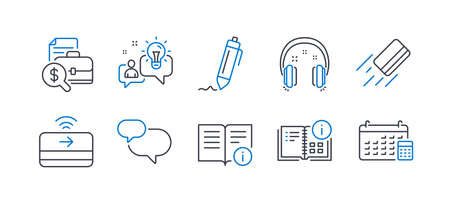 Set of Education icons, such as Chat message, Signature, Technical info, Idea, Headphones, Instruction info, Credit card, Accounting report, Contactless payment, Calendar line icons. Vector Ilustração