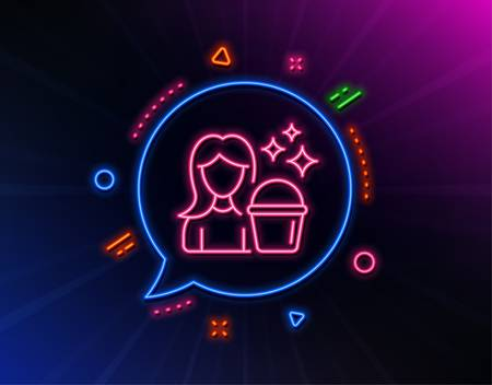 Cleaning service line icon. Neon laser lights. Woman with Bucket symbol. Washing Housekeeping equipment sign. Glow laser speech bubble. Neon lights chat bubble. Banner badge with cleaning icon. Vector