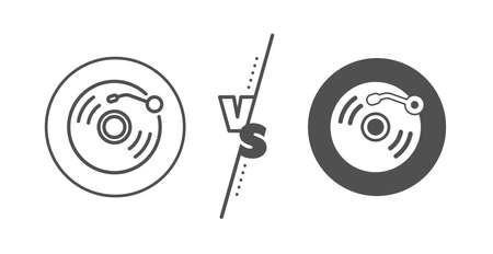Music sound sign. Versus concept. Vinyl record line icon. Musical device symbol. Line vs classic vinyl record icon. Vector
