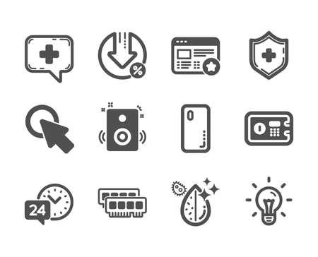 Conjunto de iconos de tecnología, como Escudo médico, Haga clic aquí, Idea, Servicio 24 horas, Porcentaje de préstamo, Cubierta de teléfono inteligente, Agua sucia, Ram, Altavoces, Caja de seguridad, Favorito, Iconos clásicos de chat médico. Vector