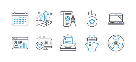 Set of Technology icons, such as Laptop, Heart, Typewriter, Ship, Seo statistics, Analysis graph, Loyalty star, Divider document, Calendar, Chemical hazard line icons. Computer, Social media. Vector Illustration