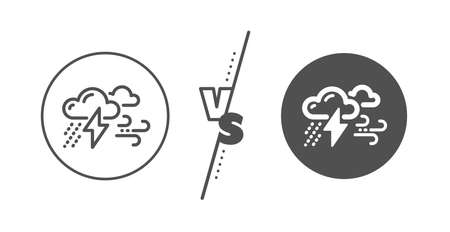 Bad weather sign. Versus concept. Clouds with raindrops, lightning, wind line icon. Line vs classic bad weather icon. Vector Illustration