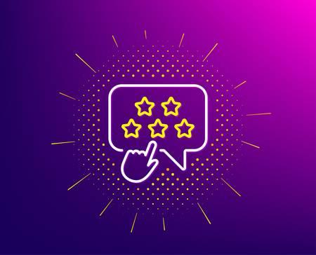Ranking star line icon. Halftone pattern. Click rating sign. Brand ambassador rank symbol. Gradient background. Ranking star line icon. Yellow halftone pattern. Vector