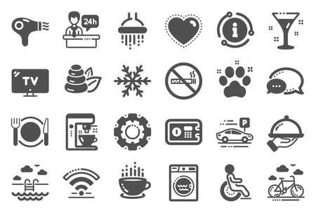 Hotel service icons. Wi-Fi, Air conditioning and Coffee maker machine. Spa stones, swimming pool and bike rental icons. Hotel parking, safe and shower. Food, coffee cup. Quality set. Vector Illustration