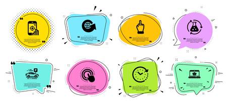 Time change, World globe and Middle finger line icons set. Chat bubbles with quotes. Car parking, Click hand and Chemistry experiment signs. Seo phone, Online shopping symbols. Vector