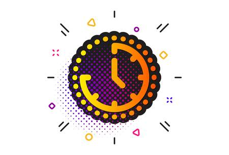 Clock sign. Halftone circles pattern. Time management icon. Watch symbol. Classic flat time icon. Vector