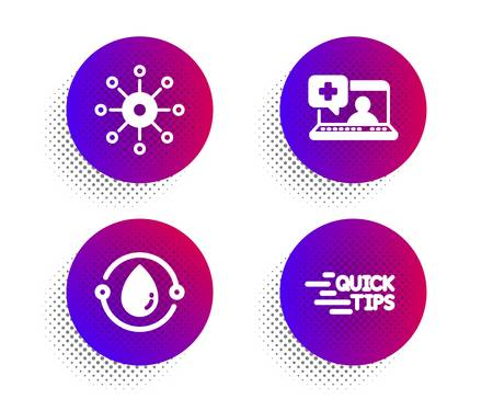 Medical help, Cold-pressed oil and Multichannel icons simple set. Halftone dots button. Education sign. Medicine laptop, Organic tested, Multitasking. Quick tips. Science set. Vector
