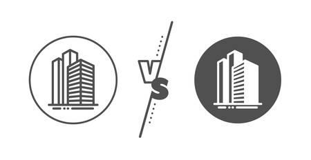 City architecture sign. Versus concept. Skyscraper buildings line icon. Town symbol. Line vs classic skyscraper buildings icon. Vector
