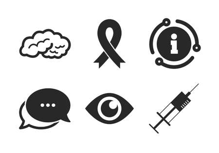 Syringe, eye, brain and ribbon signs. Chat, info sign. Medicine icons. Breast cancer awareness symbol. Human intelligent smart mind. Classic style speech bubble icon. Vector Vettoriali