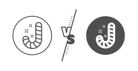 Cane lollypop sign. Versus concept. Christmas candy line icon. Line vs classic candy icon. Vector