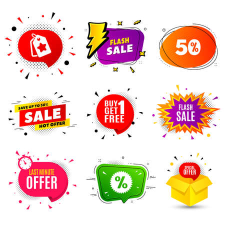 Flash Sale. Banner badge, flash sale bubble. Special offer price sign. Advertising Discounts symbol. Last minute offer. Sticker badge, comic bubble. Discounts box. Vector