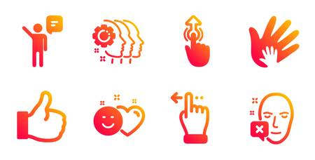 Employees teamwork, Smile and Social responsibility line icons set. Swipe up, Agent and Like signs. Touchscreen gesture, Face declined symbols. Collaboration, Social media like. People set. Vector