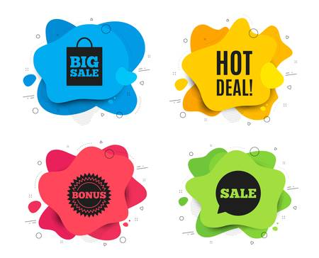 Hot deal. Liquid shape, various colors. Special offer price sign. Advertising discounts symbol. Geometric vector banner. Hot deal text. Gradient shape badge. Vector