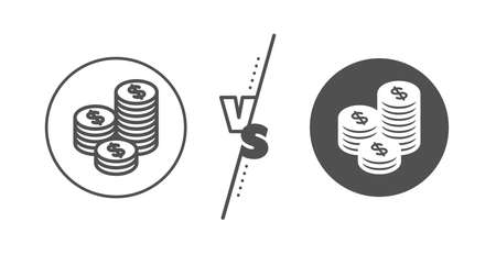 Banking currency sign. Versus concept. Coins money line icon. Cash symbol. Line vs classic coins icon. Vector 일러스트