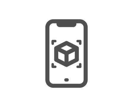 VR simulation sign. Augmented reality phone icon. 3d cube symbol. Classic flat style. Simple augmented reality icon. Vector Illustration