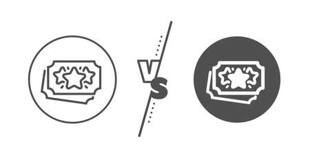 Bonus coupons. Versus concept. Loyalty points line icon. Discount program symbol. Line vs classic loyalty points icon. Vector