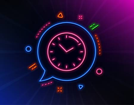 Time management line icon. Neon laser lights. Clock sign. Watch symbol. Glow laser speech bubble. Neon lights chat bubble. Banner badge with time icon. Vector
